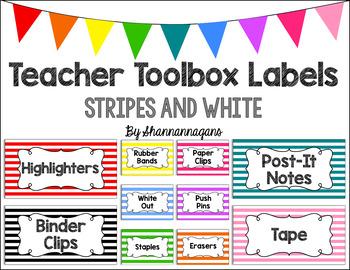 Editable Teacher Toolbox Labels - Basics: Stripes and White