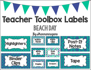 Editable Teacher Toolbox Labels - Beach Day
