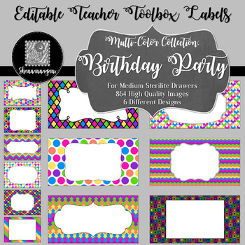 Editable Teacher Toolbox Labels - Multi-Color Collection: Birthday Party