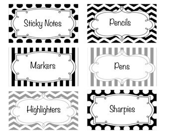 Editable Teacher Toolbox Labels- Black, Gray, and White Patterns!