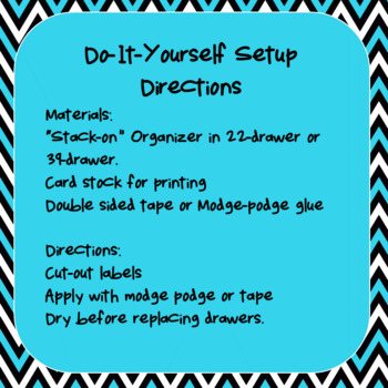Editable Teacher Toolbox Labels- Black White and Turquoise Chevron