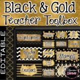 Editable Teacher Toolbox Labels -Black and Gold Classroom Decor