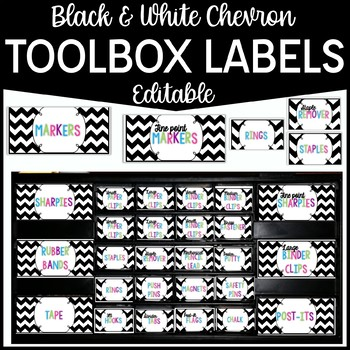 Editable Teacher Toolbox Labels- Black and White Chevron {freebie}