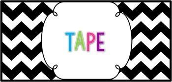 Editable Teacher Toolbox Labels- Black and White Chevron {freebie}