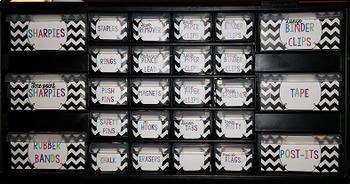 Black & White Chevron Editable Teacher Toolbox Labels {freebie}