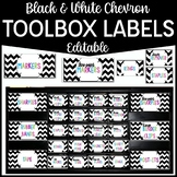 Editable Teacher Toolbox Labels- Black and White Chevron {