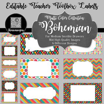 Editable Teacher Toolbox Labels - Multi-Color Collection: Bohemian