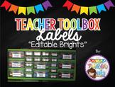Editable Teacher Toolbox Labels (Brights)