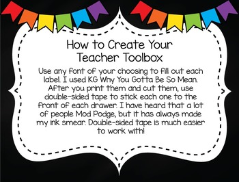 Editable Teacher Toolbox Labels (Brights)