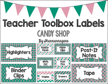 Editable Teacher Toolbox Labels - Candy Shop