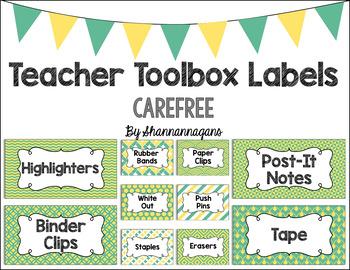 Editable Teacher Toolbox Labels - Carefree