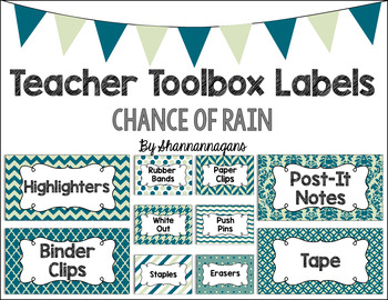 Editable Teacher Toolbox Labels - Chance of Rain