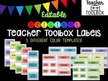 Editable Original Chevron Teacher Toolbox Labels