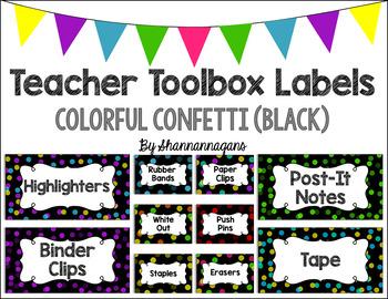 Editable Teacher Toolbox Labels - Colorful Confetti (Black Background)
