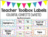 Editable Teacher Toolbox Labels - Colorful Confetti (White