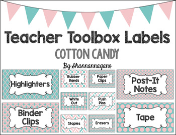 Editable Teacher Toolbox Labels - Cotton Candy
