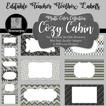 Editable Teacher Toolbox Labels - Multi-Color Collection: Cozy Cabin