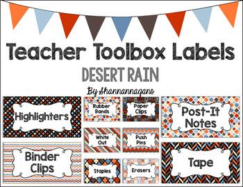 Editable Teacher Toolbox Labels - Desert Rain