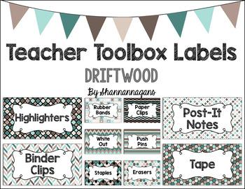 Editable Teacher Toolbox Labels - Driftwood