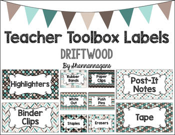 Editable Teacher Toolbox Labels - Driftwood