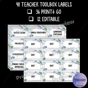 Editable Teacher Toolbox Labels {Elegant Floral/Lavender Theme}