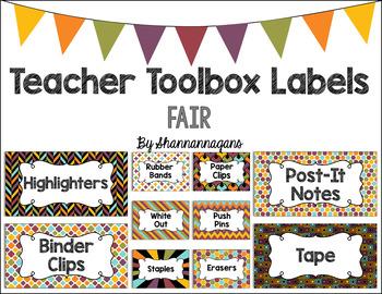 Editable Teacher Toolbox Labels - Fair