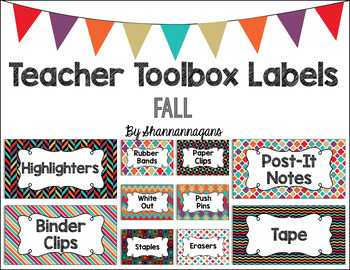 Editable Teacher Toolbox Labels - Fall