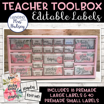 Editable Teacher Toolbox Labels (Floral and Shiplap)