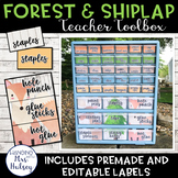 Editable Teacher Toolbox Labels (Forest and Shiplap)
