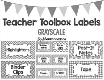 Editable Teacher Toolbox Labels - Grayscale