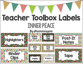 Editable Teacher Toolbox Labels - Inner Peace