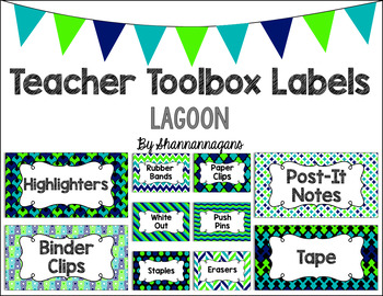 Editable Teacher Toolbox Labels - Lagoon