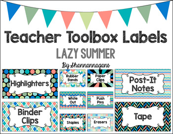 Editable Teacher Toolbox Labels - Lazy Summer