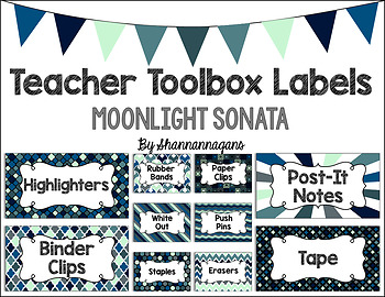 Editable Teacher Toolbox Labels - Moonlight Sonata