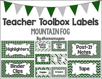 Editable Teacher Toolbox Labels - Mountain Fog