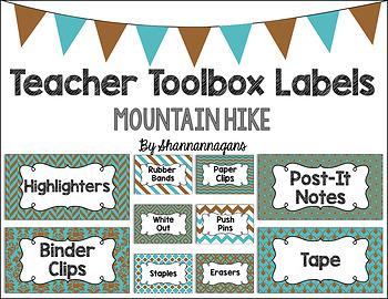 Editable Teacher Toolbox Labels - Mountain Hike