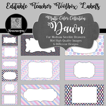 Editable Teacher Toolbox Labels - Multi-Color Collection: Dawn