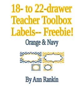 Editable Teacher Toolbox Labels Navy & Orange