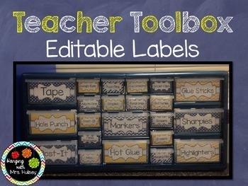 Editable Teacher Toolbox Labels (Navy & Yellow)