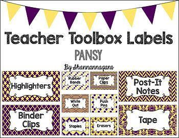 Editable Teacher Toolbox Labels - Pansy