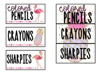 Editable Teacher Toolbox Labels: Pineapple & Flamingo