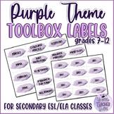 Editable Teacher Toolbox Labels {Purple Watercolour Splashes}