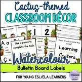 Watercolor Cactus-themed Classroom Decor and Set Up Editable