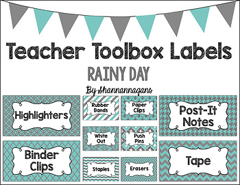 Editable Teacher Toolbox Labels - Rainy Day