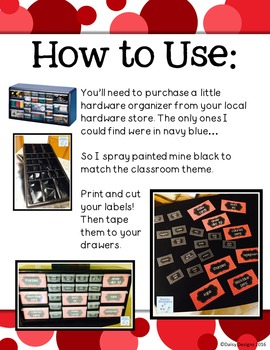 Editable Teacher Toolbox Labels - Red, Black, and White