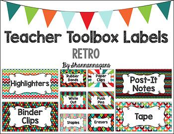 Editable Teacher Toolbox Labels - Retro