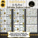 Editable Teacher Toolbox Labels- Rustic Sunflower and Shiplap theme