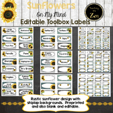 Editable Teacher Toolbox Labels- Rustic Sunflower and Ship