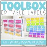 Editable Teacher Toolbox Labels   Spotty Neon Rainbow Classroom Decor