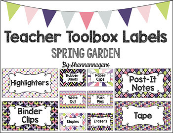 Editable Teacher Toolbox Labels - Spring Garden